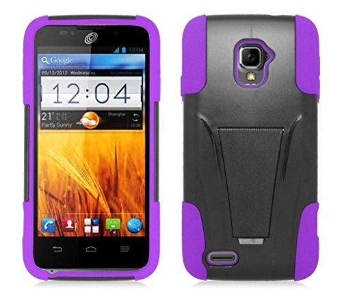 ZTE Rapido LTE Z932L (Straight Talk, Net 10) - Black and Purple Dual Layer Impact Defender Shockproof Armor Kickstand Cover Case + Atom LED