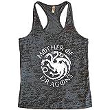 Womens Mother Of Dragons II - Game of Thrones Metallic Tank Top - Funny Threadz (Medium, Black Tank / White Ink)