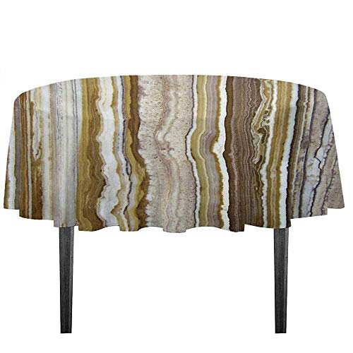 kangkaishi Marble Easy Care Leakproof and Durable Tablecloth Onyx Marble Rock Themed Vertical Lines and Blurry Stripes in Earth Color Print Outdoor Picnic D55.11 Inch Mustard Brown