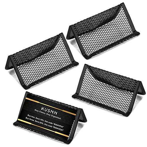 [4-Pack] Business Card Holder - Mesh Metal Name Card Display Organizer - Business Card Holders Stand for Desk & Desktop - Capacity 50 Cards ()