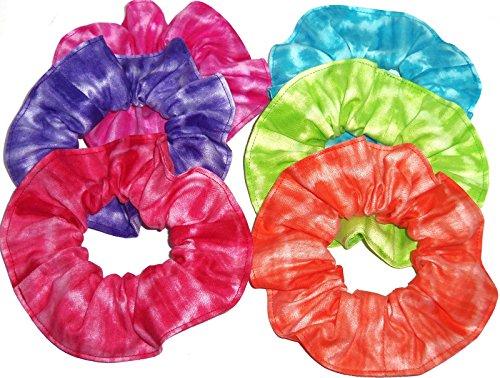 Sherry Orange (Tie Dye Fabric Hair Scrunchies Set of 6 Ponytail Holders Pink Purple Red Teal Lime Green Orange made by Scrunchies by Sherry)