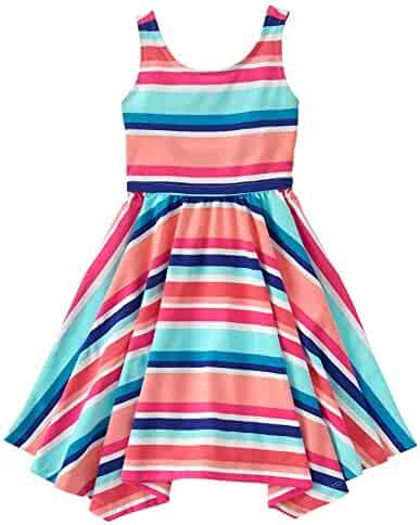 Gymboree Big Girls' Short Sleeve Multi Stripe Print Dress