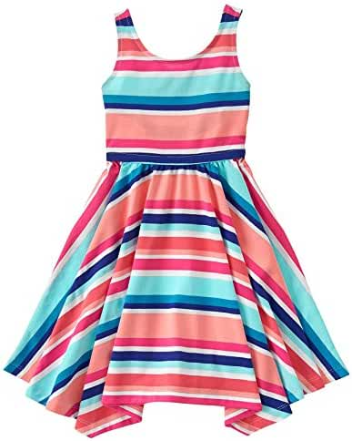 Gymboree Big Girls' Short Sleeve Multi Stripe Print Dress