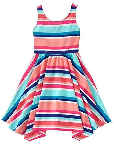Gymboree Big Girls' Short Sleeve Stripe Print Dress, Multi, 8