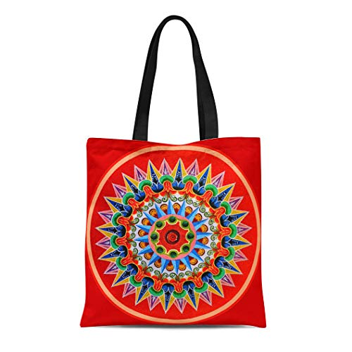 (Semtomn Cotton Line Canvas Tote Bag Rica Costa Rican Oxcartwheel Tradition Folklore Travel Painting Oxcart Reusable Handbag Shoulder Grocery Shopping Bags)