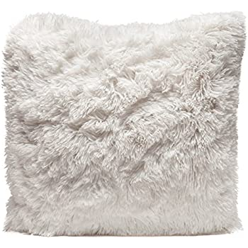 Chanasya Super Soft Long Shaggy Chic Fuzzy Fur Faux Fur Warm Elegent Cozy Pink Throw Pillow Cover Pillow Sham Solid Pink Fur Throw Pillowcase 18x18 Inches 2-Pack Pillow Insert Not Included