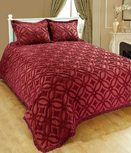 Saral Home Fashions Grace Chenille Bedspread with Sham, Queen, Maroon