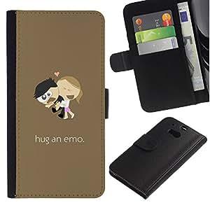 ZONECELL ( No Para HTC ONE Mini 2) Imagen Frontal Negro Cuero Tarjeta Ranura Trasera Funda Carcasa Diseño Tapa Cover Skin Protectora Case Para HTC One M8 - abrazo divertido un emo