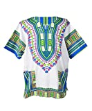 Lofbaz Traditional African Print Unisex Dashiki Size XXL White and Royal Blue