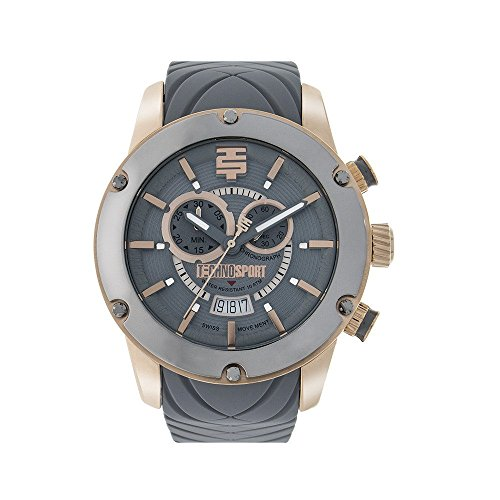 Technosport TS-750-15 Mens Gray Chronograph Watch Rose Gold Case Silicone Strap