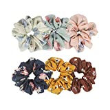 Ondder Large Chiffon Flower Hair Scrunchies Hair Bow Chiffon Ponytail Holder Bobbles Elastic Colorful Scrunchy Hair Bands Ties, 6 Pieces