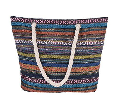 PLEASANT PALCE Ladies Canvas Beach Bag Causal Shopping Bag Shopper Tote Shoulder Bag for Summer Holiday and Travel with Cotton Rope Handle (Navy-45cmx32cmx14cm) Bohemia-45cmx36cmx14cm
