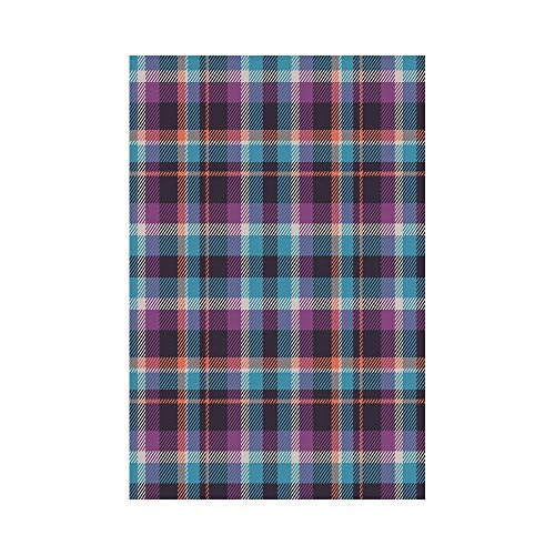 Polyester Garden Flag Outdoor Flag House Flag Banner,Checkered,Celtic Tartan Irish Culture Scotland Country Antique Tradition Tile Decorative,Violet Light Blue Salmon,for Wedding Anniversary Home Outd
