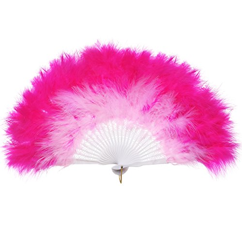 """BABEYOND Roaring 20s Vintage Style Folding Handheld Flapper Marabou Feather Hand Fan for Costume Halloween Dancing Party Tea Party Variety Show 11"""" X 20"""" (Pink and Rose Red) from BABEYOND"""