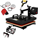 "Mophorn 5 in 1 15"" X 15"" Heat Press 360 Degree Swing-Away Heat Press Machine Multifunction Sublimation Combo T Shirt Press Machine for Mug Hat Plate Cap Mouse Pad (15 by 15 inch 5pcs)"