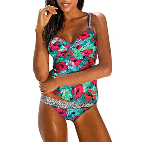 Kimloog 2 Piece Women Floral Print Leopard Patchwork Tankini Swimsuit with Boy-Short Beachwear (L, Green) (Green Print Software)