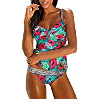 Kimloog 2 Piece Women Floral Print Leopard Patchwork Tankini Swimsuit with Boy-Short Beachwear