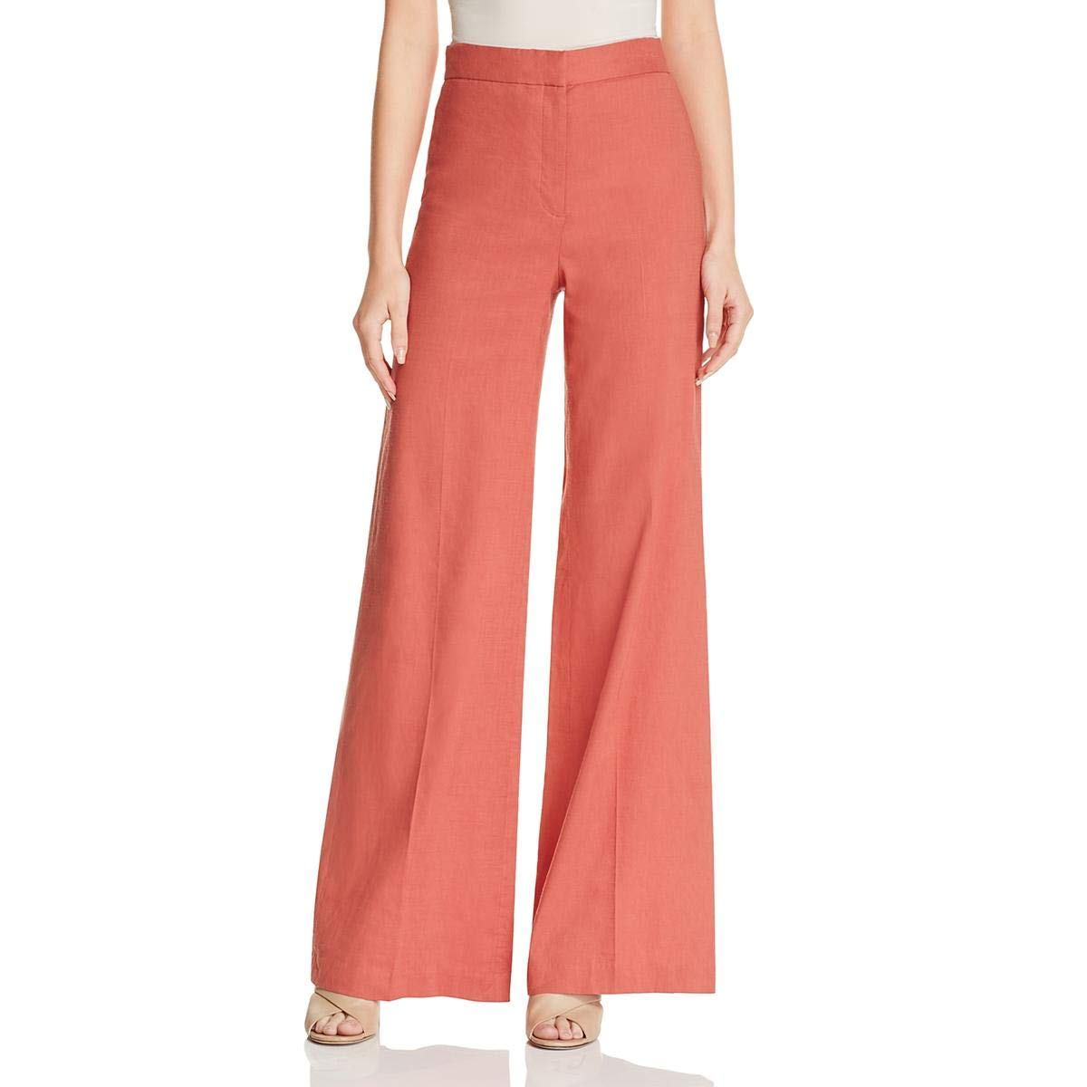 Carmine Red Theory Womens Terena Linen Stretch Wide Leg Pants