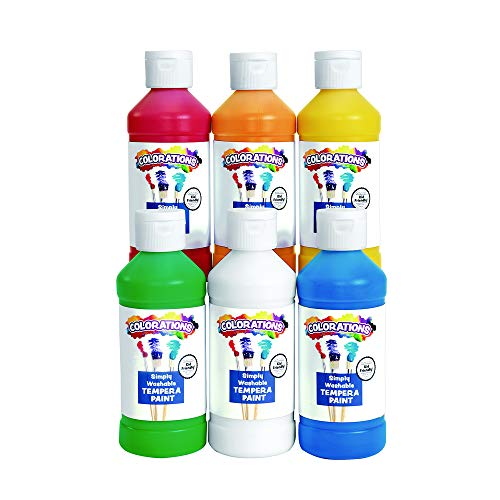 Colorations Simply Washable Tempera Paints, 8 fl oz, Set of 6 Colors, Non Toxic, Vibrant, Bold, Kids Paint, Craft, Hobby, Arts & Crafts, Fun, Art Supplies