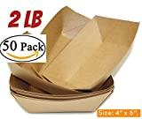 "Brown Kraft Paper Food Trays Set of 50 Sturdy and Recyclable Great for Parties hot dog trays Takeout, Home Outdoor 2 lb Paperboard food trays(50, 4"" x 6"", 2 lb)"