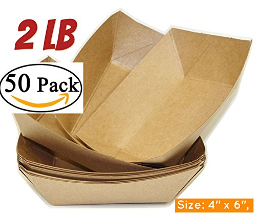 Brown Kraft Paper Food Trays Set of 50 Sturdy and Recyclable Great for Parties hot dog trays Takeout, Home Outdoor 2 lb Paperboard food trays(50, 4