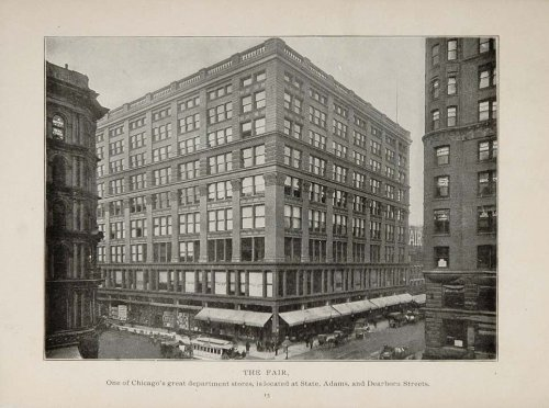 1902 Chicago The Fair Department Store Building Print - Original Halftone - Street Chicago Stores State