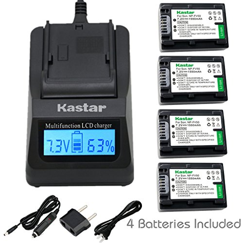 Kastar Ultra Fast Charger(3X faster) Kit and Battery (4-Pack) for Sony NP-FV30, NP-FV40, NP-FV50 work with Sony DCR-SR88, SX85, FDR-AX100, HDR-CX160, CX190, CX380, CX430V, CX520V, CX550V, CX560V, CX580V, CX700V, CX760V, CX900, HC9, PJ260V, PJ340, PJ380, PJ430V, PJ540, PJ580V, PJ650V, PJ710V, PJ760V, PJ790V, PJ810, TD10, TD20V, TD30V, XR160, XR260V, XR350V, XR550V, HXR-NX3D1U, NX30U, NX70U, NEX-VG10, VG30, VG30H, VG900 [Over 3x faster than a normal charger with portable USB charge function]