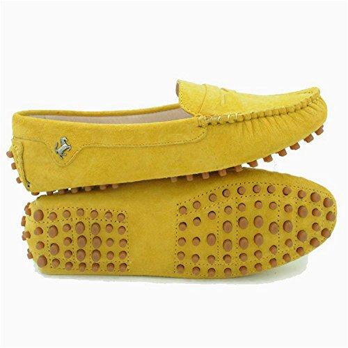 Goeao Kvinnor Bekväm Mocka Läder Lägenheter Drivande Båge Mockasiner Slip-on Loafers Gul