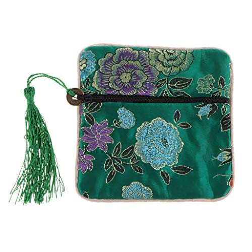 - Flameer Traditional Embroidery Silk Purse Gift Jewelry Guzheng Nail Tape Bags Travel Pouch Accessories - Green, as described