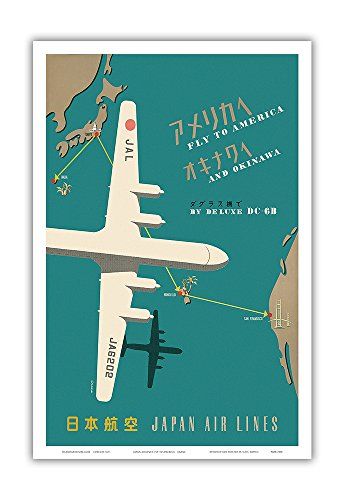 Pacifica Island Art Fly to America and Okinawa by Deluxe DC-6B - Japan Airlines - Route Map - Vintage Airline Travel Poster - Master Art Print - 12in x ()