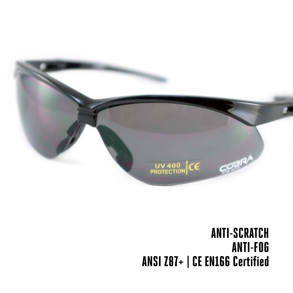 Gafas Protectoras de Seguridad y Gafas bal/ísticas con Marco Negro Gafas Grises y Patas no Ajustables Gafas t/ácticas para Airsoft Cobra antiempa/ñamiento y antiara/ñazos