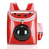 Geekercity Pet Carrier Backpack Bag for Small Little Dogs Cats, Portable Breathable Innovative Space Capsule Astronaut Outdoor Travel Bubble Package Box for Puppy Kitten (Red)