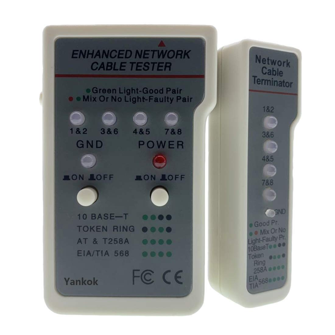 Yankok Network Cable Tester for Ethernet USB BNC UTP STP Coaxial and RJ45 RJ11 Modular Cables User Manual Included
