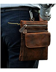 Leaokuu Mens Genuine Leather Coffee Fanny Small Messenger Shoulder Satchel Waist Bag Pack