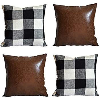Hoplee Outdoor Farmhouse Pillow Covers Buffalo Plaid Pillow Cover and Brown Faux Leather Pillow Covers 18x18 Set of 4