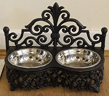 Small Cast Iron Dog Or Cat Bowl Holder 2 Stainless Steel Bowls