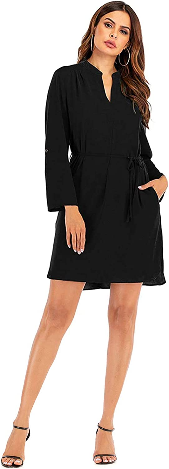 Aladuo Women Midi Dress Long Sleeve with Pocket for Work Casual V Neck Midi Dress for Women