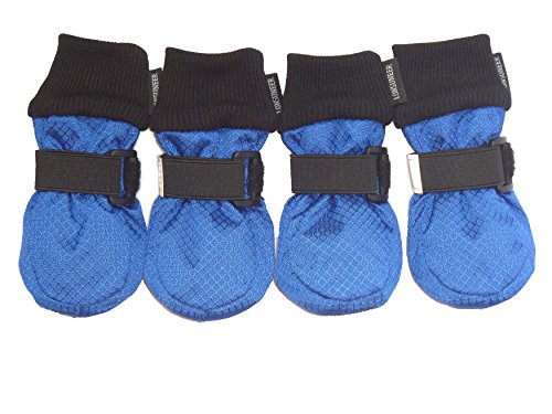 LONSUNEER Paw Protector Dog Boots Soft Sole Nonslip and Safe Reflective Set of 4 Color Blue Size X-Small