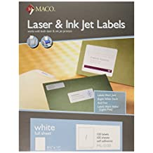 MACO Laser/Ink Jet White Full Sheet Labels, 8-1/2 x 11 Inches, 1 Per Sheet, 100 Per Box (ML-0100)