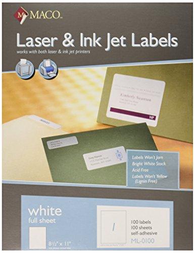 (MACO Laser/Ink Jet White Full Sheet Labels, 8-1/2 x 11 Inches, 1 Per Sheet, 100 Per Box (ML-0100))