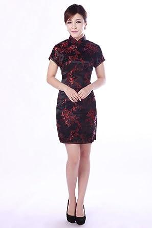 212c826b646b Amazon.com: Shanghai Story Floral Print Chinese Dress Short Cheongsam Qipao  7 Color: Clothing