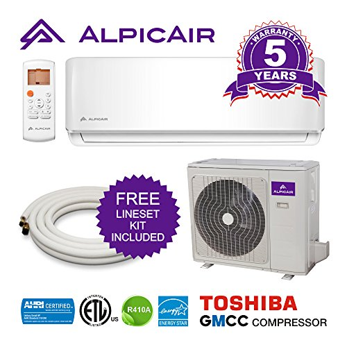 AlpicAir 9,000 BTU Ductless Mini Split Air Conditioner System Inverter Heat Pump