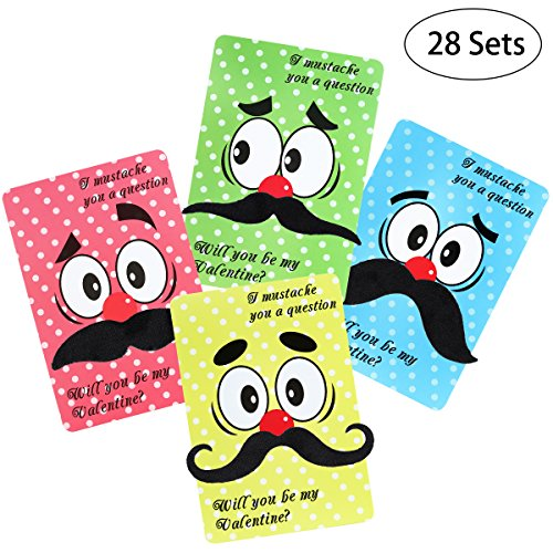 Valentine Card Pack Including 28 Valentines Day Cards,28 Funny Mustaches and 28 Envelopes