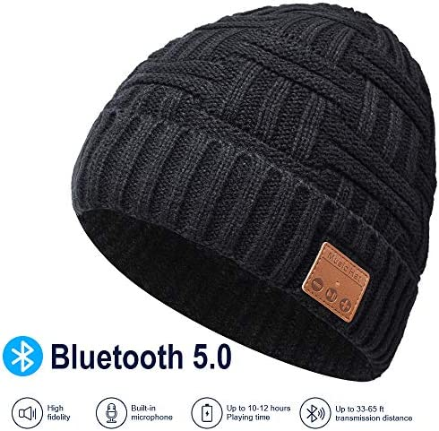 Bluetooth Beanie, Rechargeable Unisex Bluetooth hat, mens gifts with Control Panel, Removable Wireless Earphone hat, Charges via USB, Unique Delightful for Your Friends, birthday gifts for men women