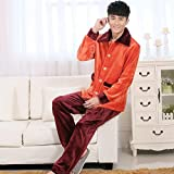LJ&L Couples breathable pajamas flannel long sleeves pants comfort home service bathrobe loose pajamas,Men,M