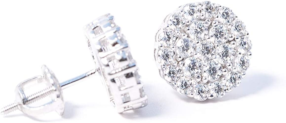 Jewels By Lux 925 Sterling Silver Mens Round Cubic Zirconia CZ Stud Square Cluster Earrings 8mm