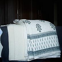 Pokaran, Grey Jaipuri Quilt/ Razai, Hand Block Printed and Handmade ~ King Size 100X90 Inches