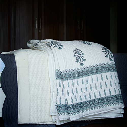 - Pokaran, Grey Jaipuri Quilt/ Razai, Hand Block Printed and Handmade ~ King Size 100X90 Inches