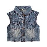 Snowdreams Girls Denim Vest Children Sleeveless Jean Jacket Size 4T