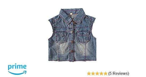 067a8d24f75b0 Amazon.com  Snowdreams Girls Denim Vest Children Sleeveless Jean Jacket   Clothing